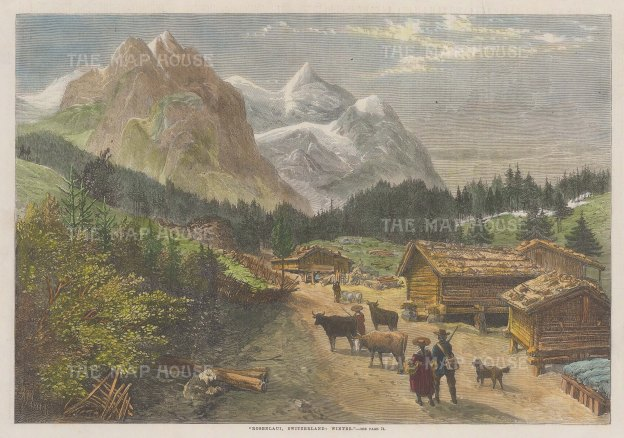 """Illustrated London News: Bernese Alpse. 1863. A hand coloured original antique wood engraving. 13"""" x 9"""". [SWIp789]"""