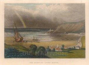 "Radclyffe: Mumbles Lighthouse. 1836. A hand coloured original antique steel engraving. 5"" x 4"". [WCTSp473]"