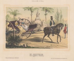 Three ladies in an El Quitrin. The expensive style of carriage was favoured by the upper classes over the more practical Volante.