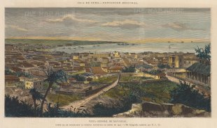 "Illustrated London News: Matanzas, Cuba. 1881. A hand coloured original antique wood engraving. 14"" x 10"". [WINDp1161]"