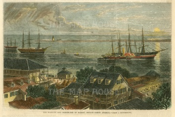 "Illustrated London News: Nassau, Bahamas.1864. A hand coloured original antique wood engraving. 10"" x 6"". [WINDp1165]"