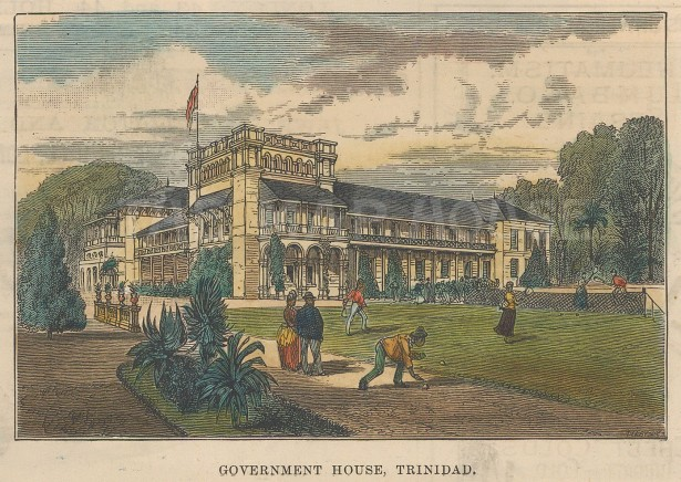 "Illustrated London News: Government House, Trinidad. 1888. A hand coloured original antique wood engraving. 14"" x 10"". [WINDp1173]"
