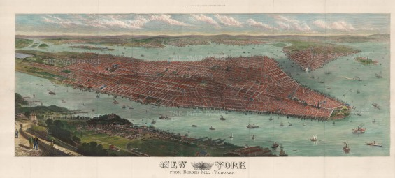 "Illustrated London News: New York City. 1876. A hand coloured original antique wood engraving. 45"" x 22"". [USAp4784]"