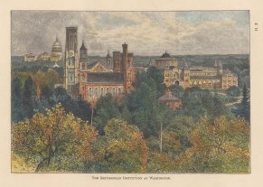 "Lovett: Smithsonian Institution, Washington D.C. 1891. A hand coloured original antique wood engraving. 8"" x 5"". [USAp4930]"