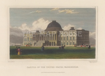 "Meyer: Capitol, Washington D.C. 1837. A hand-coloured original antique steel engraving. 6"" x 4"". [USAp4942]"