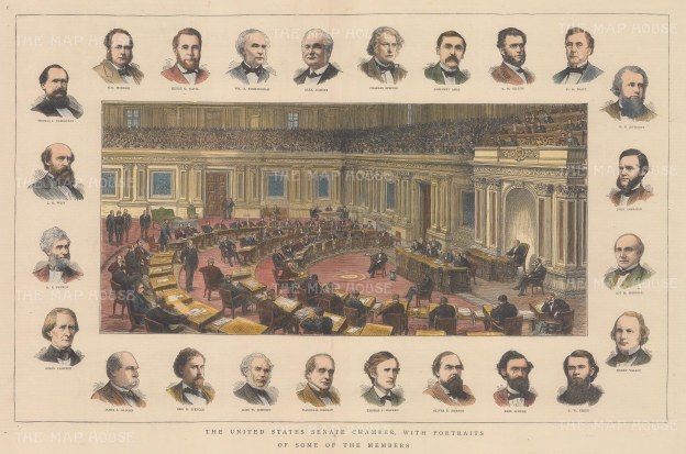 Senate: View of the chamber in session with twenty four vignette portraits of members.