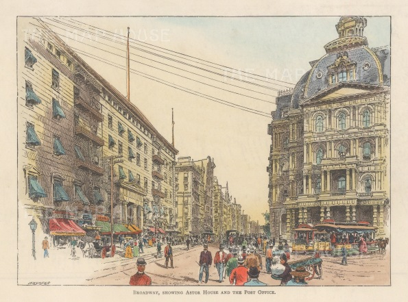 "Lovett: Broadway and Vesey Streets, New York City. 1891. A hand coloured original antique wood engraving. 8"" x 5"". [USAp4977]"