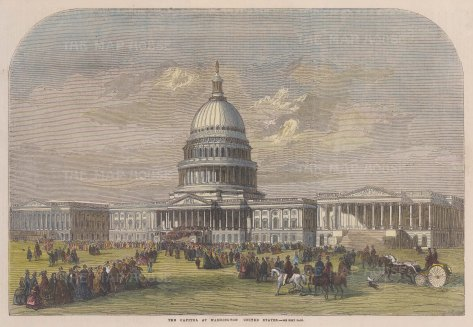 "Illustrated London News: The Capitol, Washington D.C. 1859. A hand coloured original antique wood engraving. 13"" x 9"". [USAp5009]"