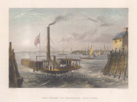 "Bartlett: New York City. 1838. A hand-coloured original antique steel engraving. 8"" x 6"". [USAp5013]"