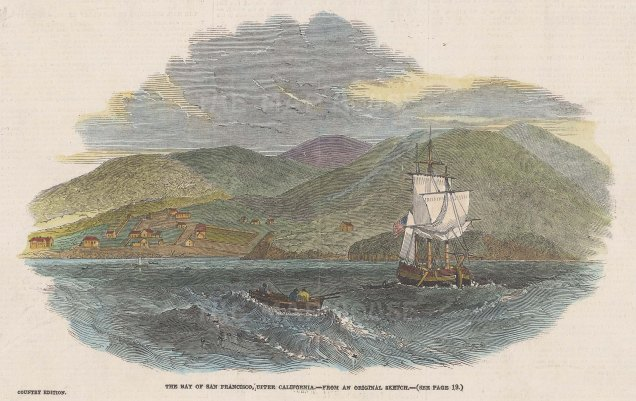 "Illustrated London News: San Francisco Bay. 1849. A hand coloured original antique wood engraving. 8"" x 6"". [USAp5017]"