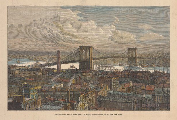 "Illustrated London News: Brooklyn Bridge, New York City. 1883. A hand coloured original antique wood engraving. 14"" x 10"". [USAp5028]"